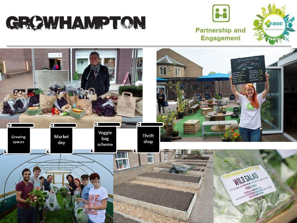 Growing spaces Market day Veggie bag scheme Thrift shop