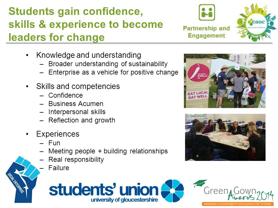 Students gain confidence, skills & experience to become leaders for change Knowledge and understanding –Broader understanding of sustainability –Enterprise as a vehicle for positive change Skills and competencies –Confidence –Business Acumen –Interpersonal skills –Reflection and growth Experiences –Fun –Meeting people + building relationships –Real responsibility –Failure