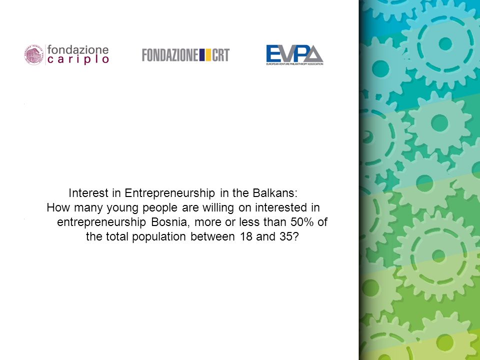Interest in Entrepreneurship in the Balkans: How many young people are willing on interested in entrepreneurship Bosnia, more or less than 50% of the total population between 18 and 35