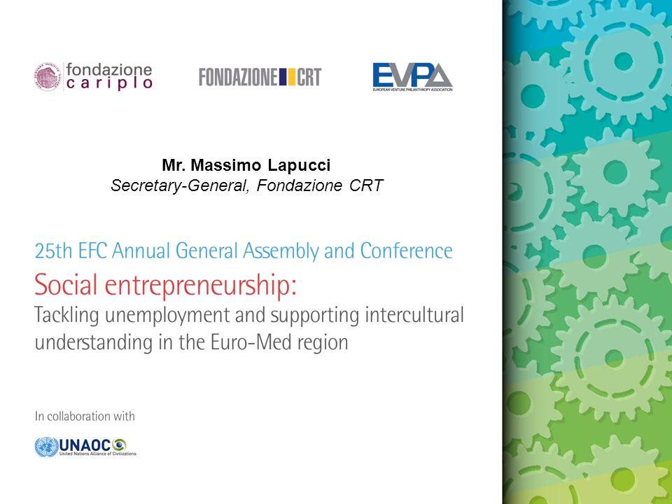 Mr. Massimo Lapucci Secretary-General, Fondazione CRT