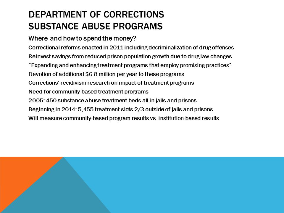 DEPARTMENT OF CORRECTIONS SUBSTANCE ABUSE PROGRAMS Where and how to spend the money.