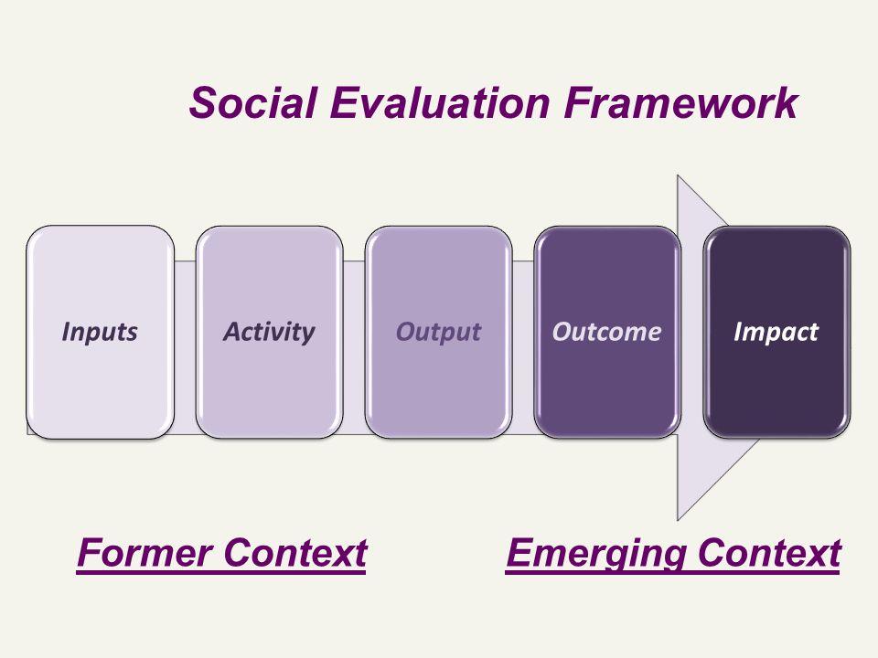 InputsActivityOutputOutcomeImpact Social Evaluation Framework Former ContextEmerging Context