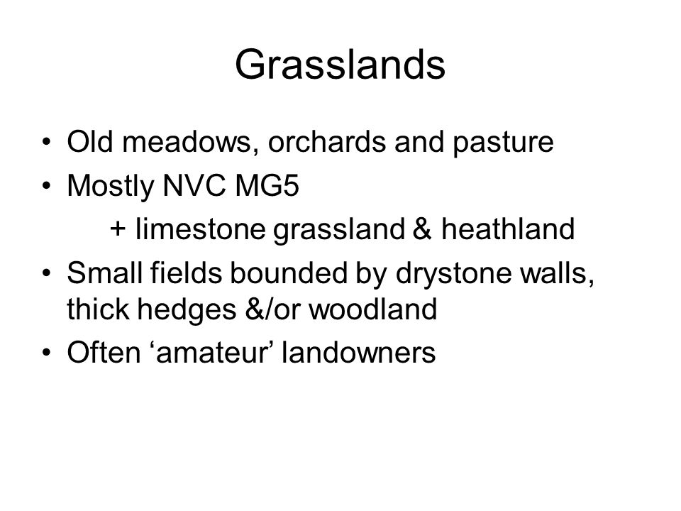 Grasslands Old meadows, orchards and pasture Mostly NVC MG5 + limestone grassland & heathland Small fields bounded by drystone walls, thick hedges &/or woodland Often 'amateur' landowners