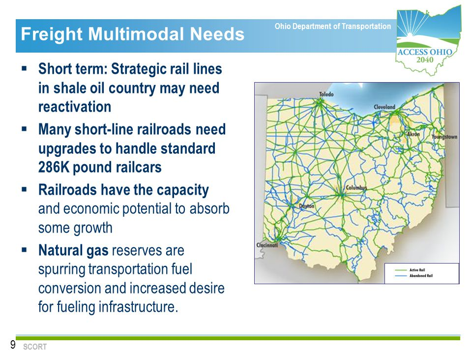 Ohio Department of Transportation Freight Multimodal Needs  Short term: Strategic rail lines in shale oil country may need reactivation  Many short-line railroads need upgrades to handle standard 286K pound railcars  Railroads have the capacity and economic potential to absorb some growth  Natural gas reserves are spurring transportation fuel conversion and increased desire for fueling infrastructure.