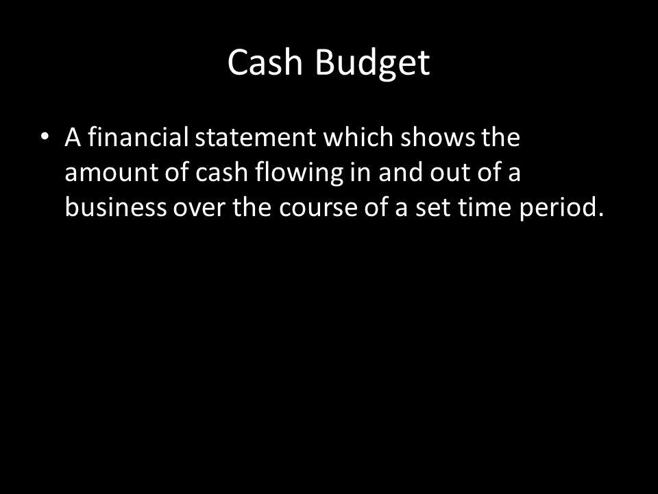 Cash Budget - example