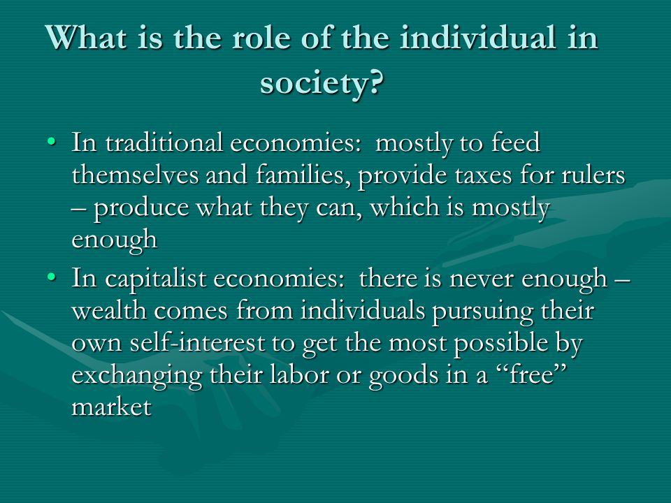 What is the role of the individual in society.