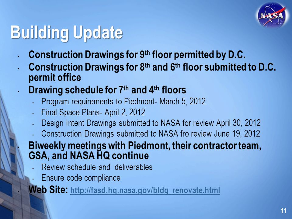 Building Update Construction Drawings for 9 th floor permitted by D.C.