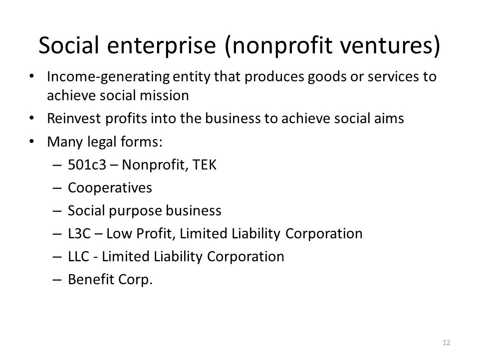 Social enterprise (nonprofit ventures) Income-generating entity that produces goods or services to achieve social mission Reinvest profits into the business to achieve social aims Many legal forms: – 501c3 – Nonprofit, TEK – Cooperatives – Social purpose business – L3C – Low Profit, Limited Liability Corporation – LLC - Limited Liability Corporation – Benefit Corp.
