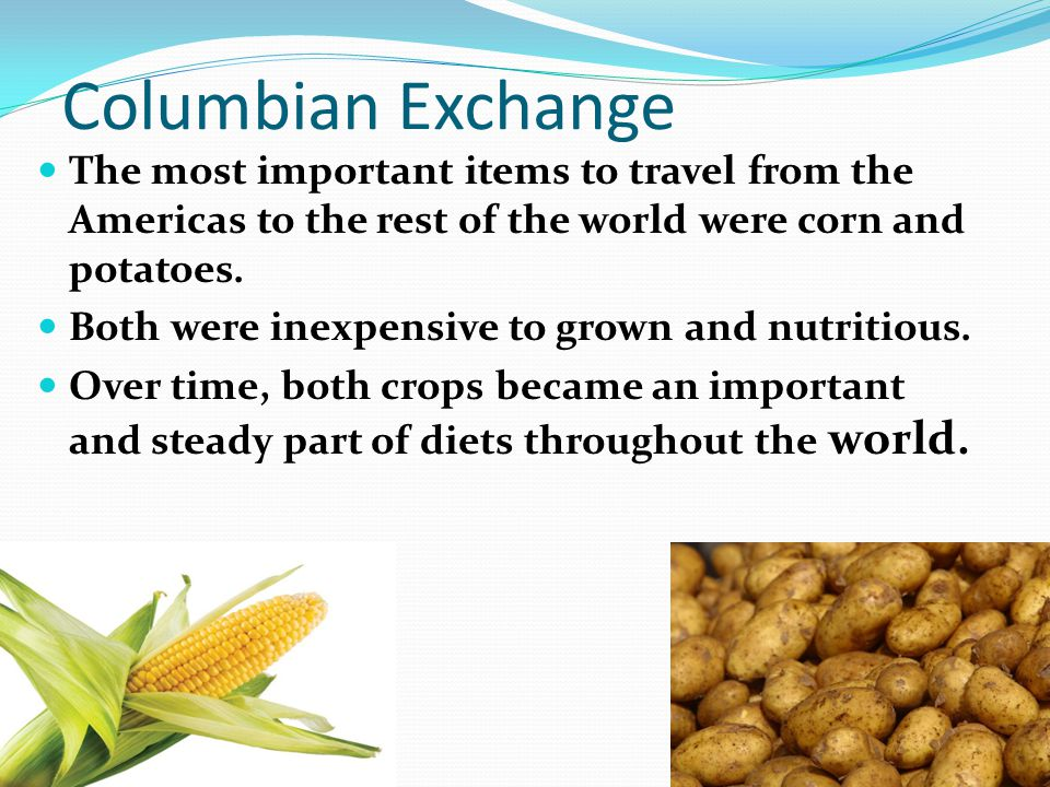 Columbian Exchange The most important items to travel from the Americas to the rest of the world were corn and potatoes. Both were inexpensive to grow