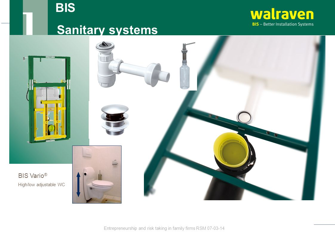 BIS Sanitary systems BIS Vario ® High/low adjustable WC Entrepreneurship and risk taking in family firms RSM 07-03-14