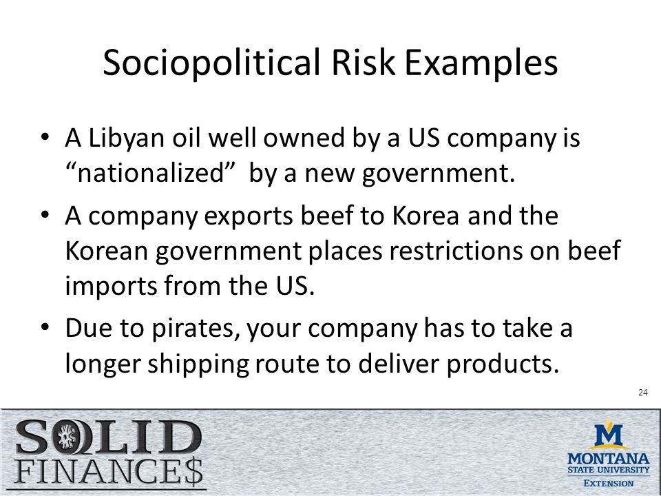 Sociopolitical Risk Examples A Libyan oil well owned by a US company is nationalized by a new government.
