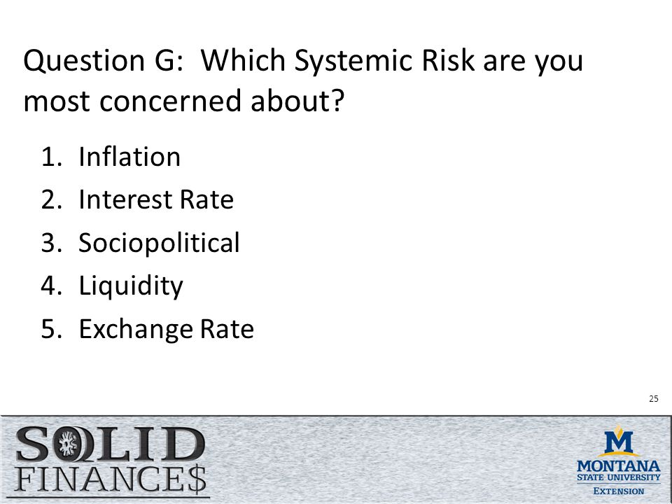 Question G: Which Systemic Risk are you most concerned about.