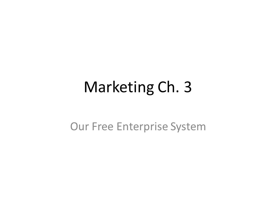 Marketing Ch. 3 Our Free Enterprise System