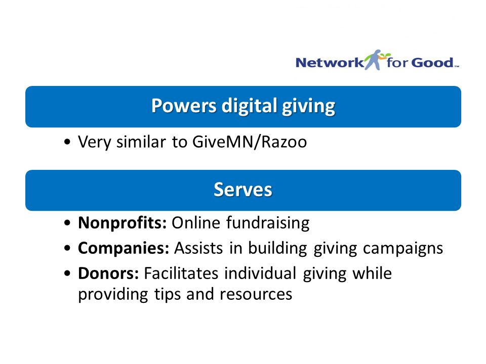 Powers digital giving Very similar to GiveMN/Razoo Serves Nonprofits: Online fundraising Companies: Assists in building giving campaigns Donors: Facilitates individual giving while providing tips and resources
