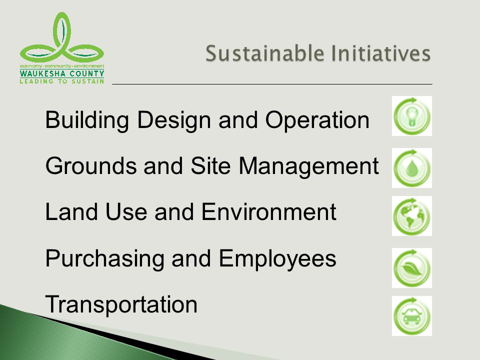Building Design and Operation Grounds and Site Management Land Use and Environment Purchasing and Employees Transportation