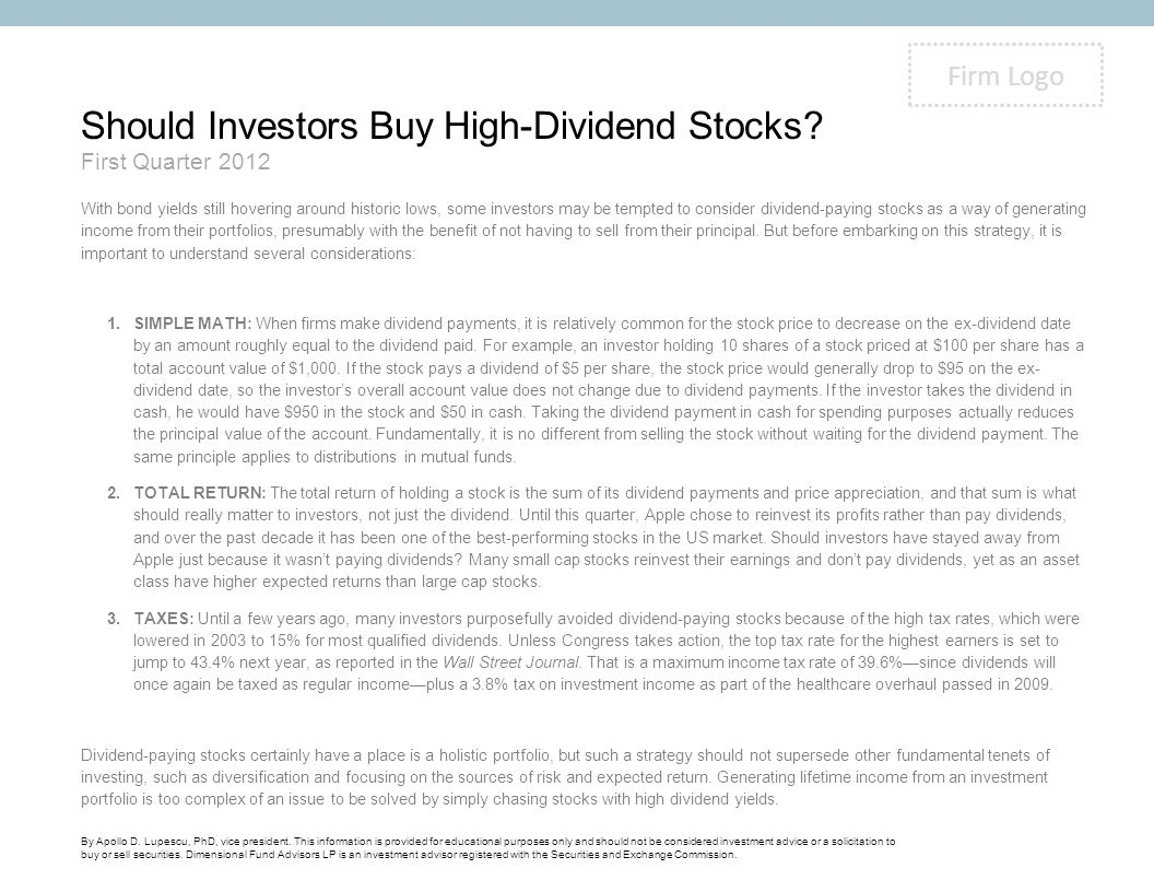 Should Investors Buy High-Dividend Stocks.