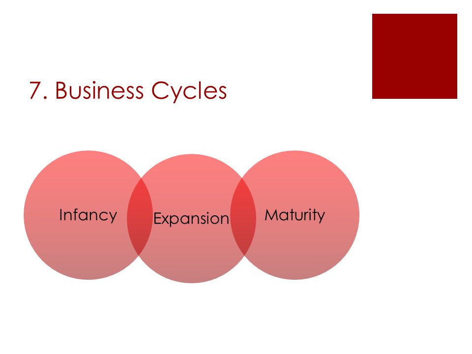 7. Business Cycles Infancy Expansion Maturity