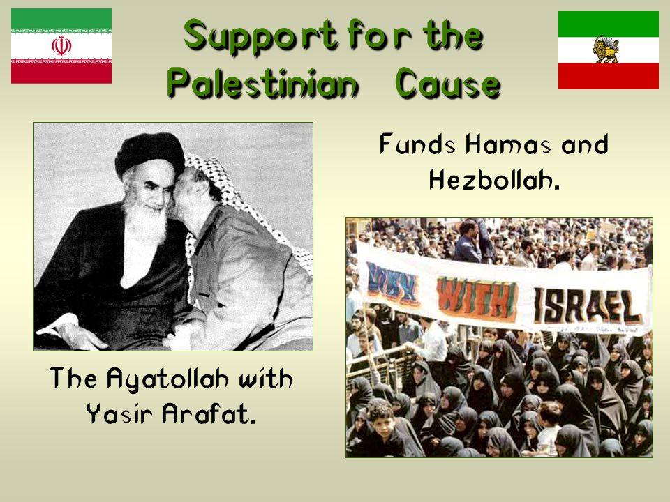 Support for the Palestinian Cause The Ayatollah with Yasir Arafat. Funds Hamas and Hezbollah.