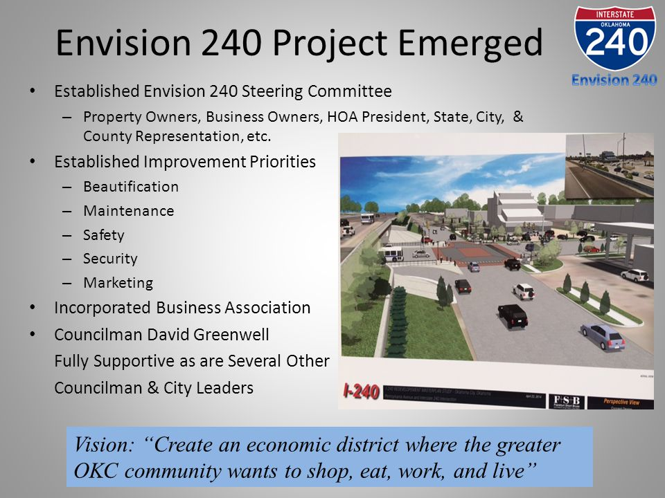 Envision 240 Project Emerged Established Envision 240 Steering Committee – Property Owners, Business Owners, HOA President, State, City, & County Repr