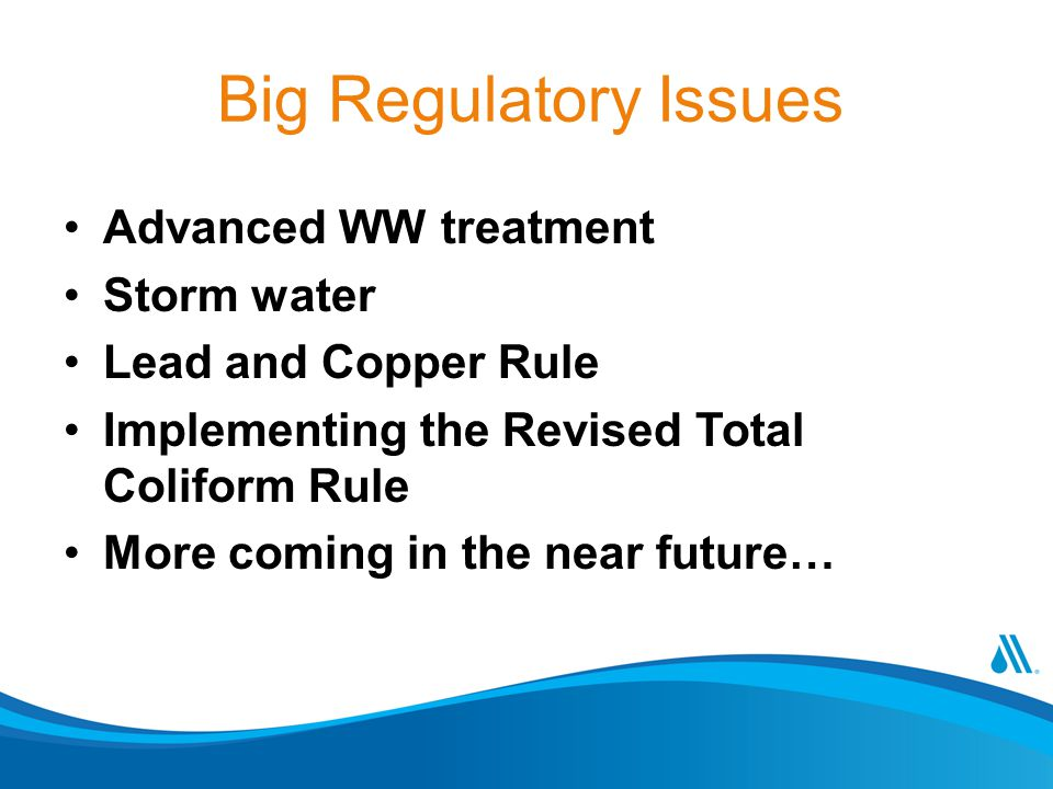 Big Regulatory Issues Advanced WW treatment Storm water Lead and Copper Rule Implementing the Revised Total Coliform Rule More coming in the near future…