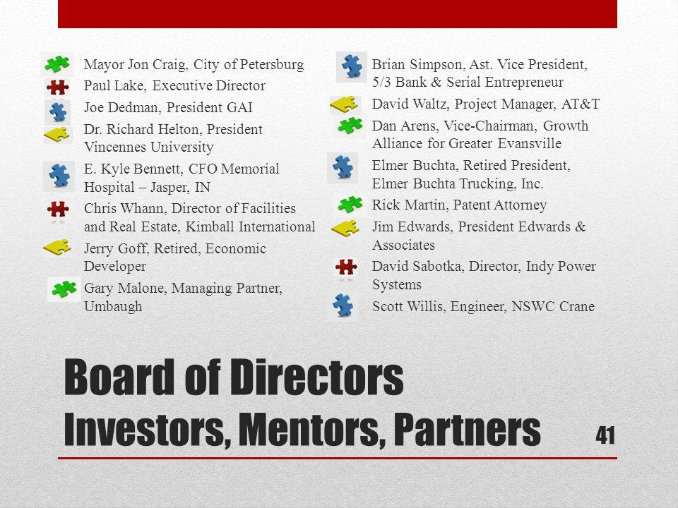 Board of Directors Investors, Mentors, Partners Mayor Jon Craig, City of Petersburg Paul Lake, Executive Director Joe Dedman, President GAI Dr.