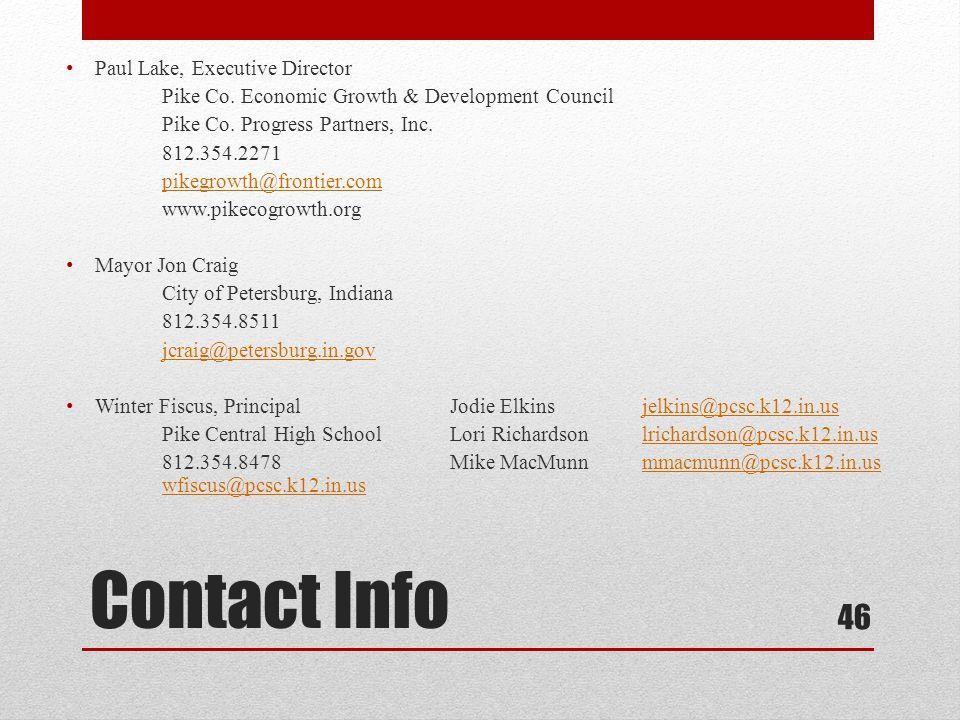 Contact Info Paul Lake, Executive Director Pike Co.