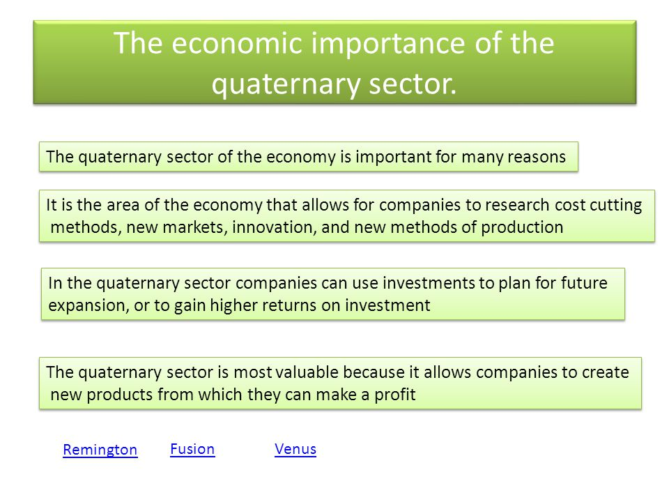 The economic importance of the quaternary sector. The quaternary sector of the economy is important for many reasons It is the area of the economy tha