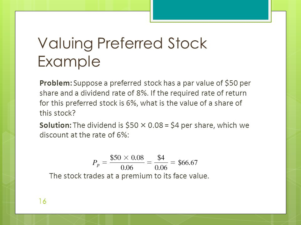 Problem: Suppose a preferred stock has a par value of $50 per share and a dividend rate of 8%. If the required rate of return for this preferred stock