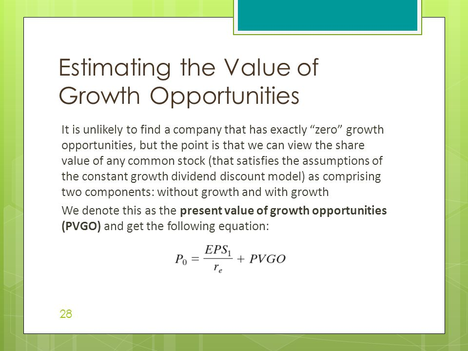 "It is unlikely to find a company that has exactly ""zero"" growth opportunities, but the point is that we can view the share value of any common stock ("