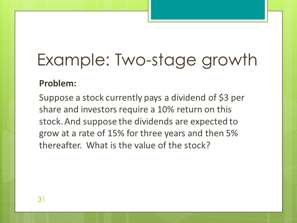Problem: Suppose a stock currently pays a dividend of $3 per share and investors require a 10% return on this stock.