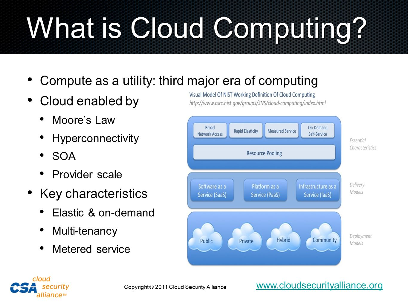 www.cloudsecurityalliance.org Copyright © 2011 Cloud Security Alliance 4 2011-2014: the Hybrid Enterprise enterprise boundary public clouds Extended Virtual Data Center private clouds cloud of users Notional organizational boundary Dispersal of applications Dispersal of data Dispersal of users Dispersal of endpoint devices