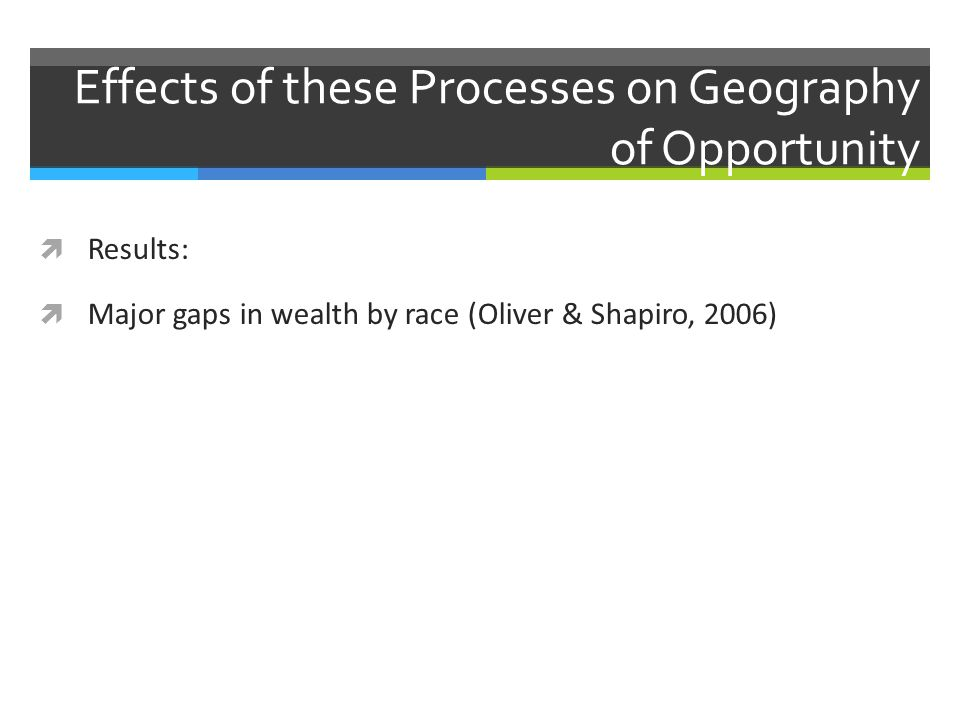 Effects of these Processes on Geography of Opportunity  Results:  Major gaps in wealth by race (Oliver & Shapiro, 2006)