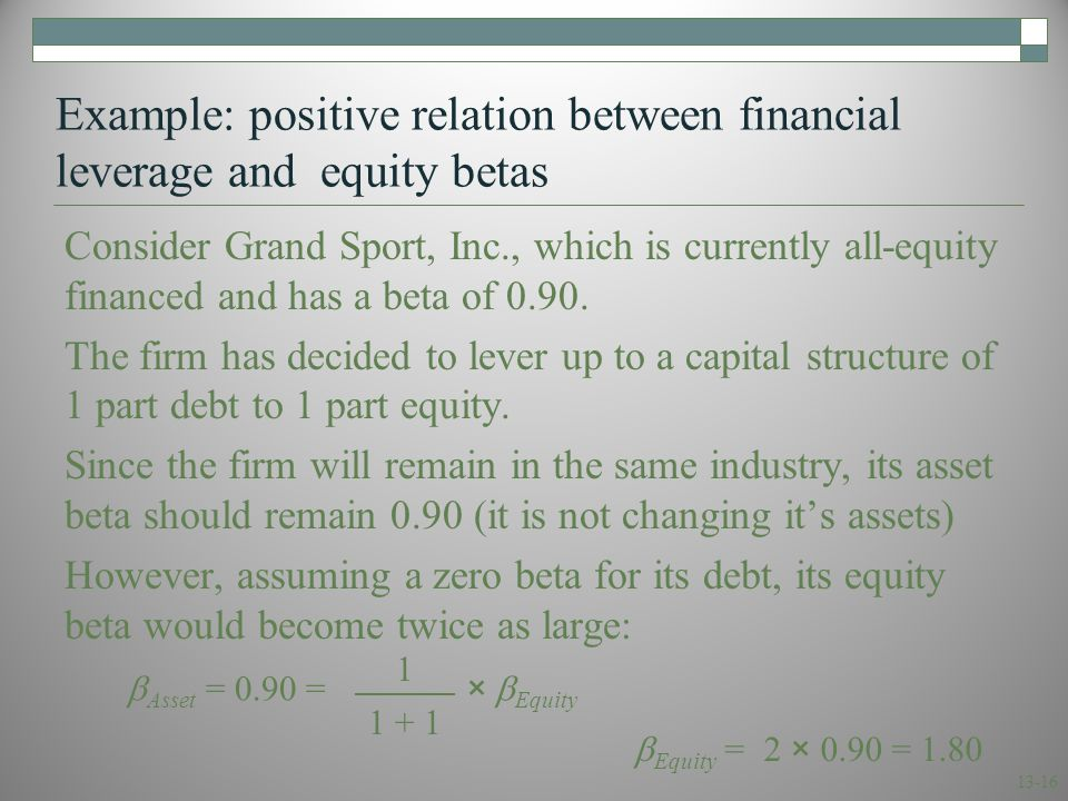 13-16 Example: positive relation between financial leverage and equity betas Consider Grand Sport, Inc., which is currently all-equity financed and ha