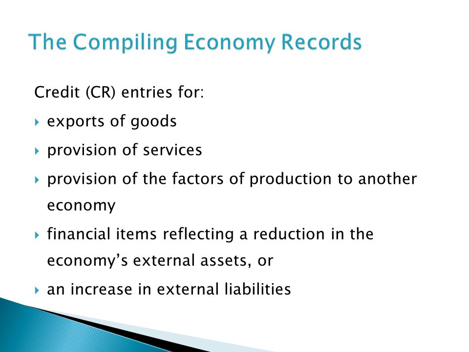 Credit (CR) entries for:  exports of goods  provision of services  provision of the factors of production to another economy  financial items reflecting a reduction in the economy's external assets, or  an increase in external liabilities
