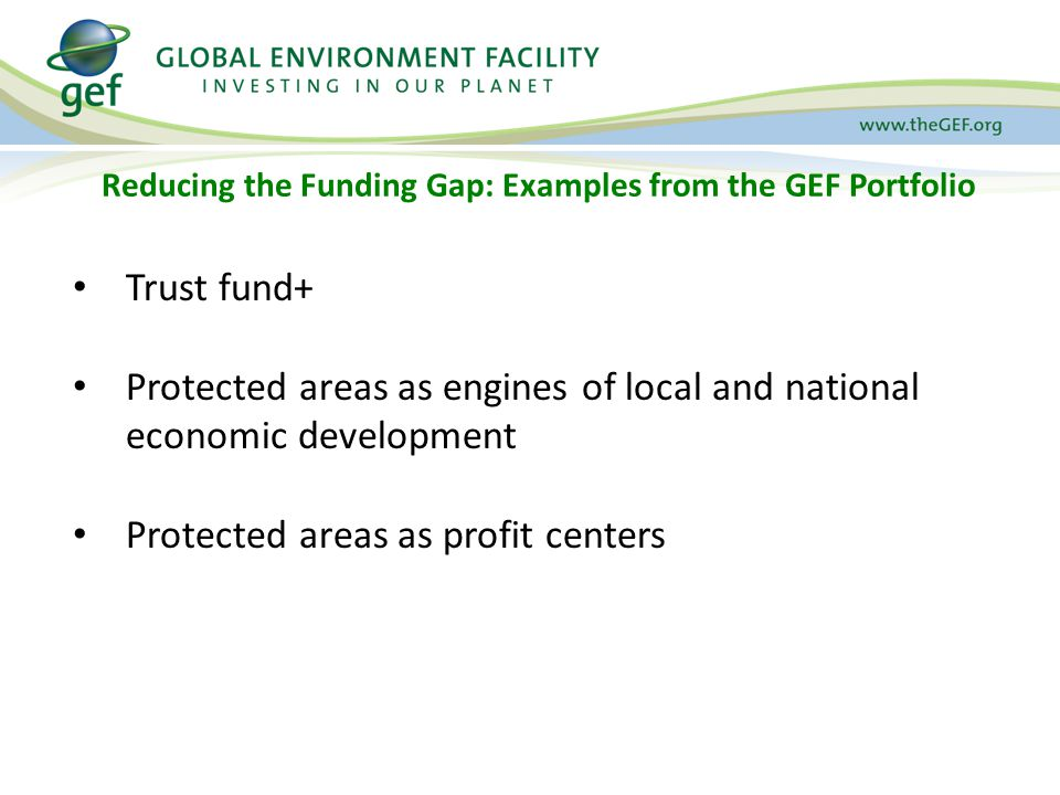 Reducing the Funding Gap: Examples from the GEF Portfolio Trust fund+ Protected areas as engines of local and national economic development Protected areas as profit centers