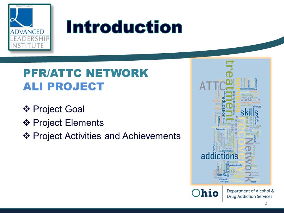  Project Goal  Project Elements  Project Activities and Achievements PFR/ATTC NETWORK ALI PROJECT 2