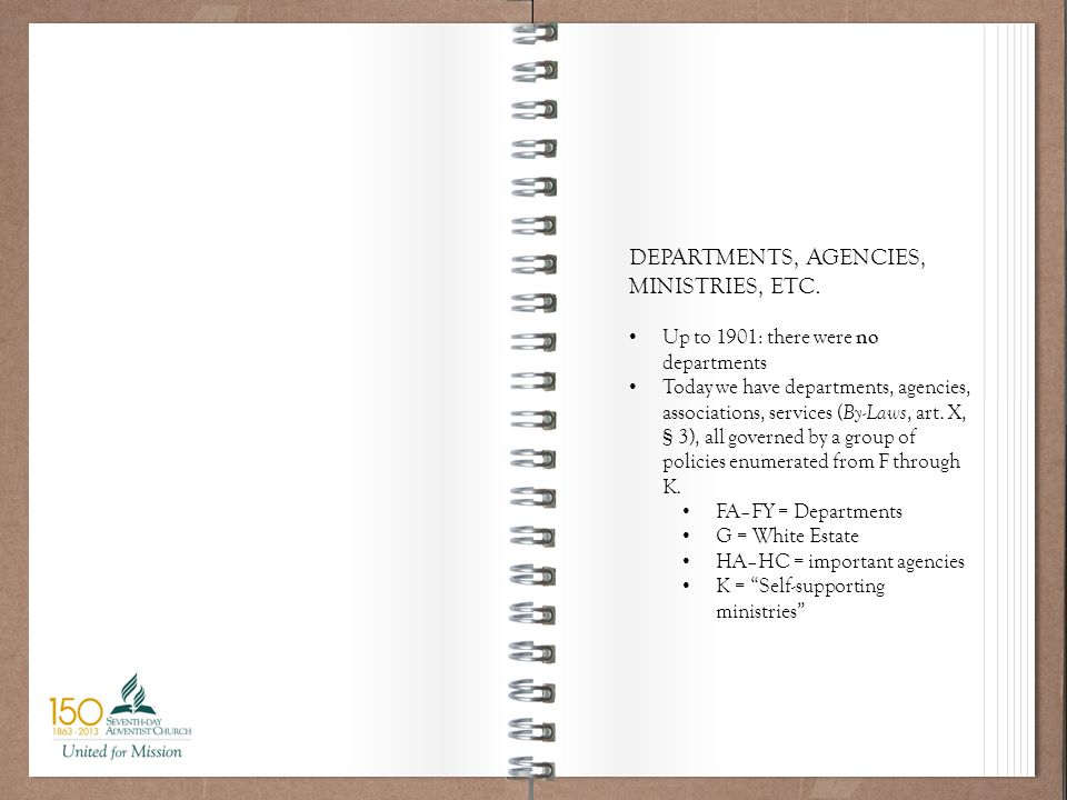 Working Policy 101 DEPARTMENTS, AGENCIES, MINISTRIES, ETC.