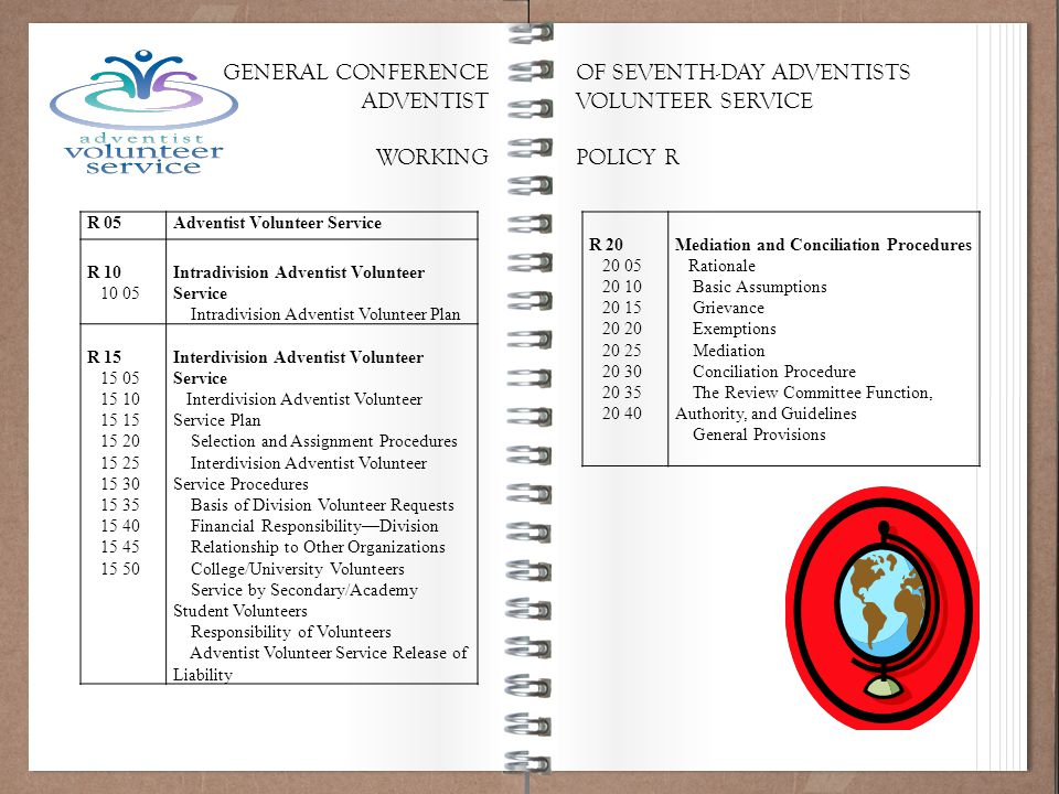 Working Policy 101 R 05Adventist Volunteer Service R 10 10 05 Intradivision Adventist Volunteer Service Intradivision Adventist Volunteer Plan R 15 15