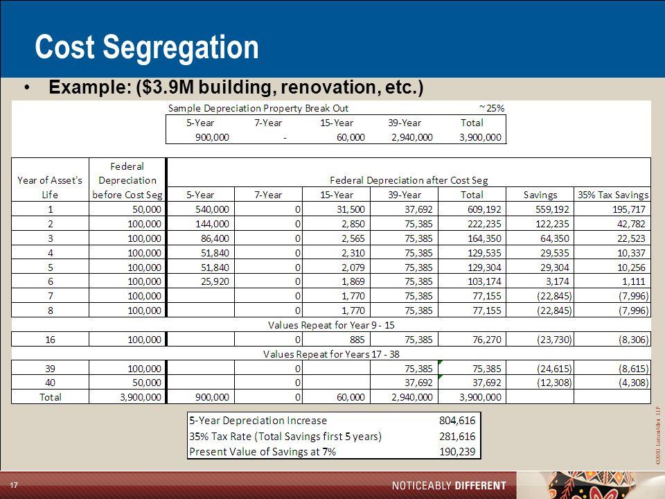 ©2010 LarsonAllen LLP 17 Cost Segregation Example: ($3.9M building, renovation, etc.)