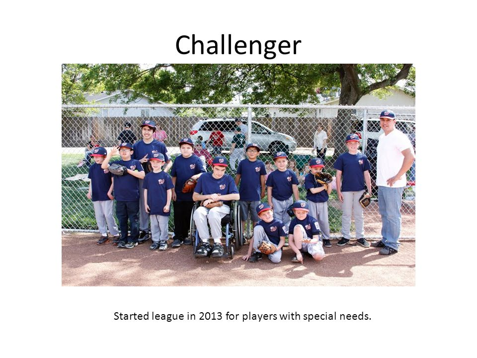 Challenger Started league in 2013 for players with special needs.