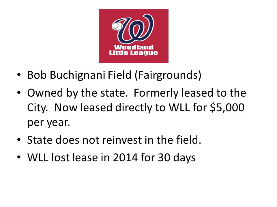 Bob Buchignani Field (Fairgrounds) Owned by the state. Formerly leased to the City. Now leased directly to WLL for $5,000 per year. State does not rei