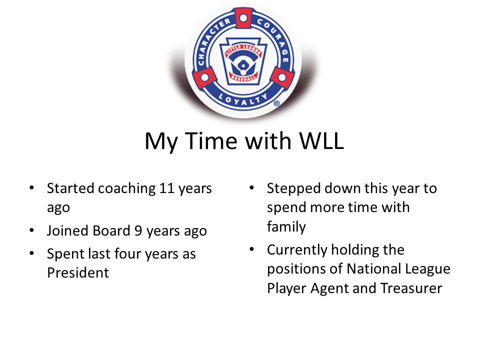 My Time with WLL Started coaching 11 years ago Joined Board 9 years ago Spent last four years as President Stepped down this year to spend more time with family Currently holding the positions of National League Player Agent and Treasurer