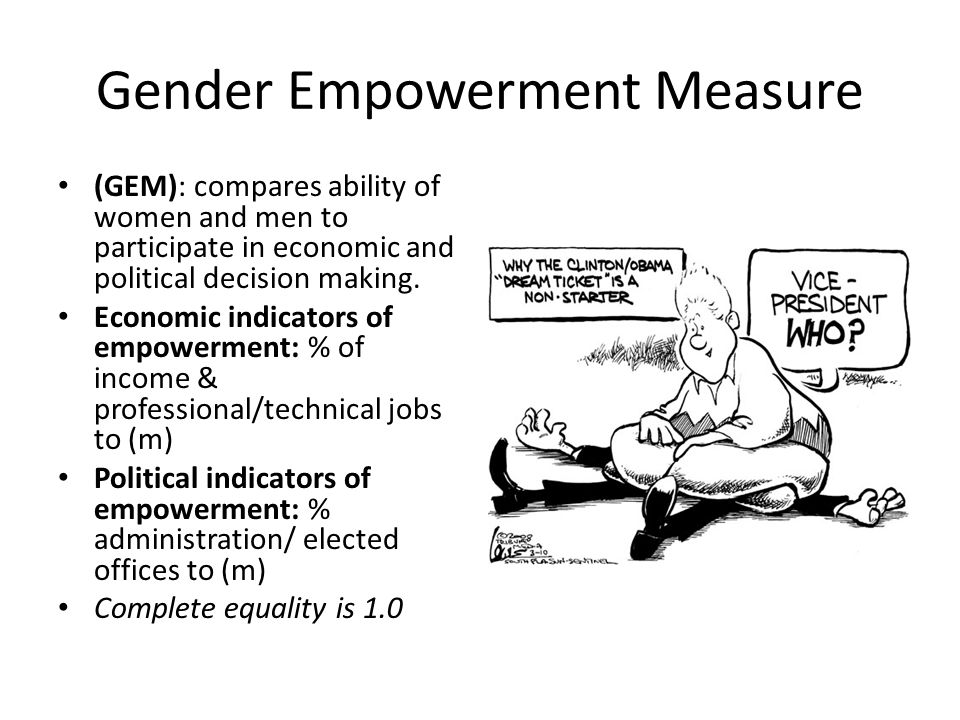 Gender Empowerment Measure (GEM): compares ability of women and men to participate in economic and political decision making. Economic indicators of e