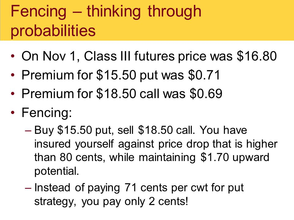 Fencing – thinking through probabilities On Nov 1, Class III futures price was $16.80 Premium for $15.50 put was $0.71 Premium for $18.50 call was $0.69 Fencing: –Buy $15.50 put, sell $18.50 call.