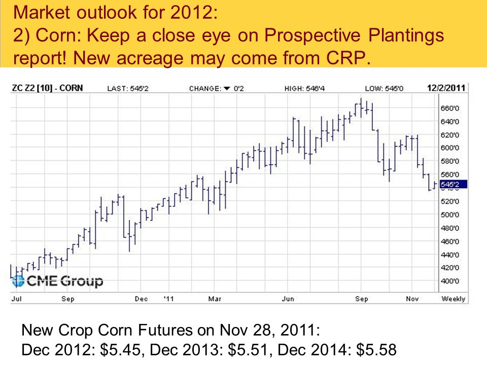 Market outlook for 2012: 2) Corn: Keep a close eye on Prospective Plantings report.
