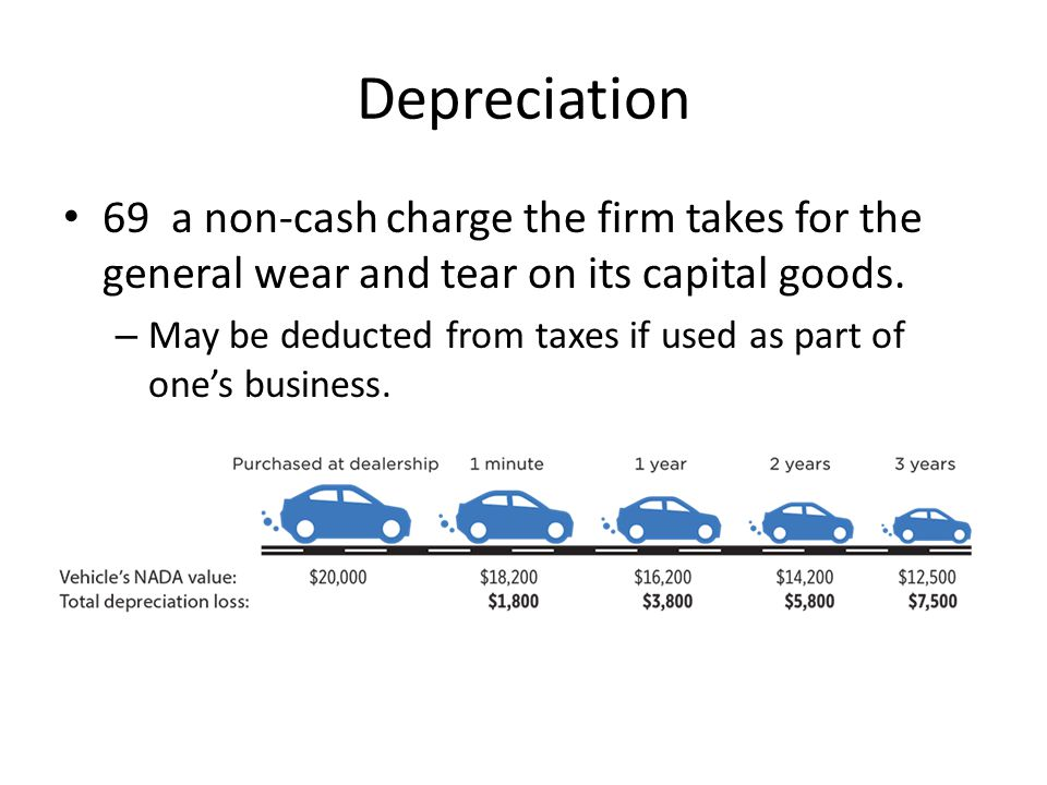 Depreciation 69 a non-cash charge the firm takes for the general wear and tear on its capital goods. – May be deducted from taxes if used as part of o