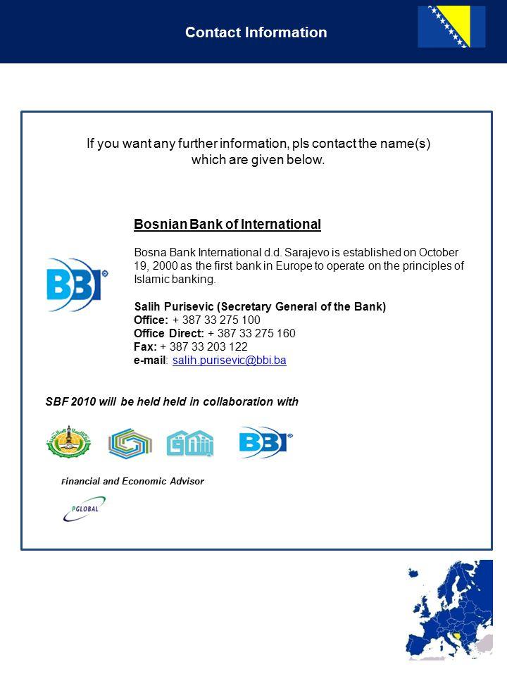 Contact Information Bosnian Bank of International Bosna Bank International d.d.
