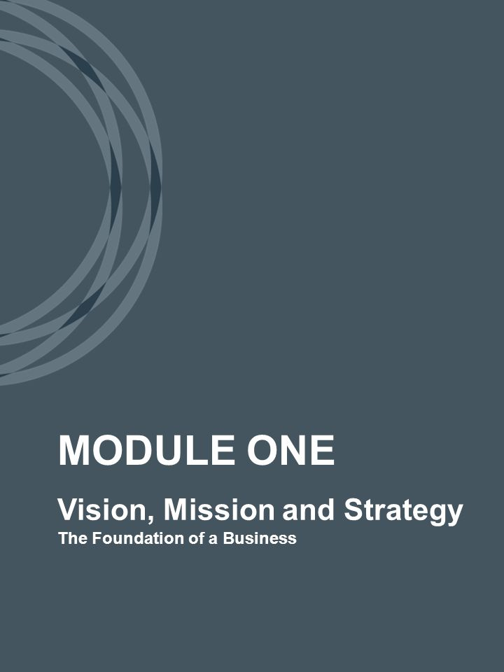 Vision, Mission and Strategy The Foundation of a Business MODULE ONE