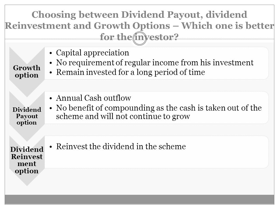 Choosing between Dividend Payout, dividend Reinvestment and Growth Options – Which one is better for the investor.