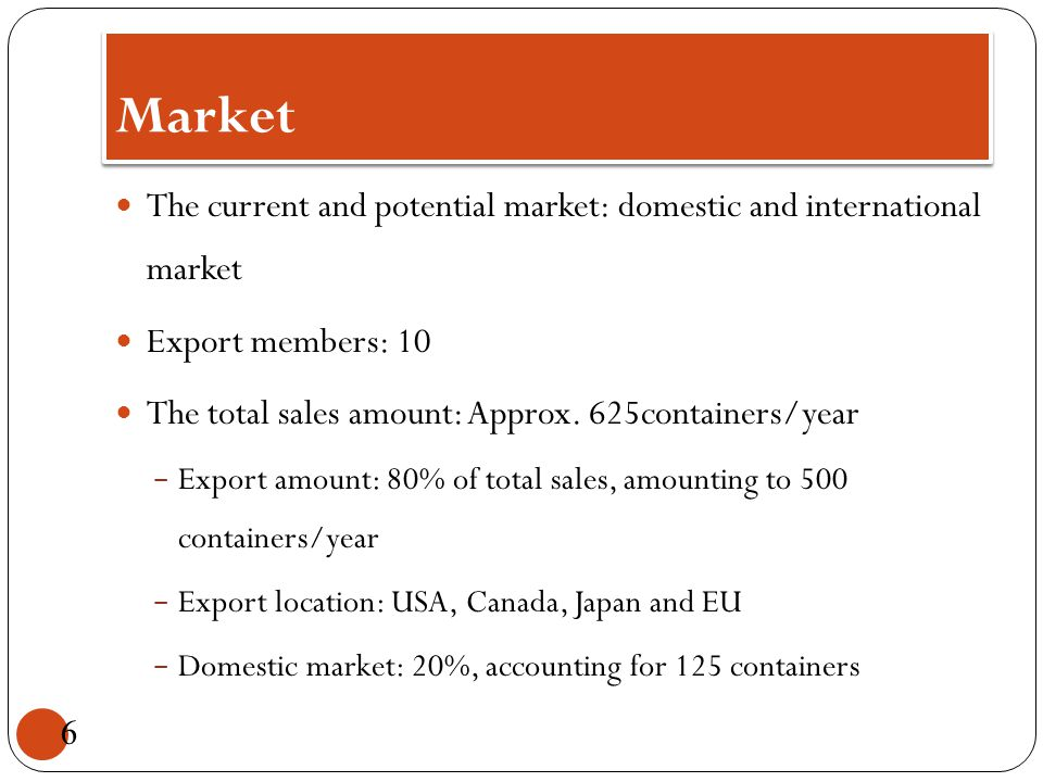 Market The current and potential market: domestic and international market Export members: 10 The total sales amount: Approx. 625containers/year - Exp